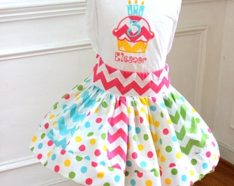 girls Birthday outfit Birthday set skirt set chevron polka dot clothing chevron skirt cupcake applique shirt girls birthday toddler birthday