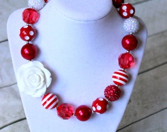 christmas chunky necklace red and white necklace for girls  candy cane necklace bubblegum necklace girls toddler birthday chunky bubblegum