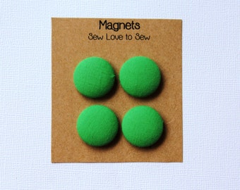 Fabric Covered Button Magnets / Apple Green Magnets / Green Magnets / Refrigerator Magnets / Fridge Magnets / Strong Magnets