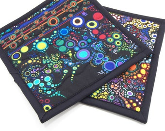 Quilted Potholders, Fabric Hot Pads - Colorful Brights on Black Cotton Pot Holders