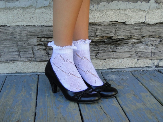 Baby Boot Socks with Lace - Bobby Socks $12.50 AT vintagedancer.com