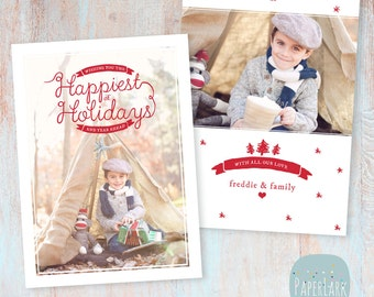 Holiday Card Template - Christmas Photoshop template - AC042 - INSTANT DOWNLOAD