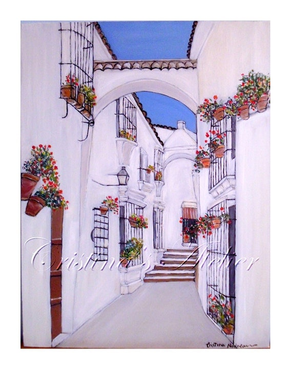 City oil painting-original oil art -Dreams of Spain-Contemporary scenic art.Street white blue flowers art.City street art canvas- Wall decor