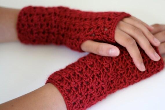Handmade Crochet fingerless gloves, handwarmers, texting gloves, cranberry red, womens  or teen gift idea