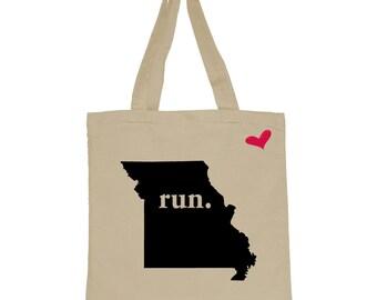 RUN Missouri Canvas Tote Bag