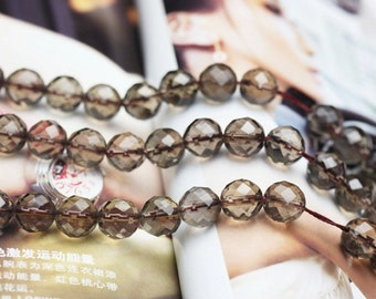Faceted Grade A Natural Smoky Quartz Beads, with 64 Facets, Round 6mm-14mm , 13.8 Inch Strand (GY27)