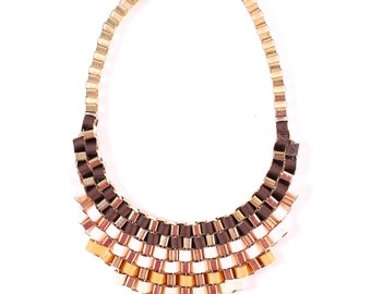 Brown statement necklace, brown ombre necklace, brown necklace
