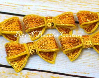 gold mini sequin bows - you chose the quantity - wholesale bows - wholesale sequin bows - wholesale mini bows - diy headband supplies