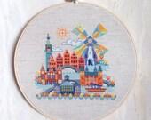 Pretty Little Amsterdam - modern cross stitch pattern PDF - Instant download