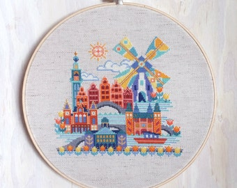 Pretty Little Amsterdam - Satsuma Street modern cross stitch pattern PDF - Instant download