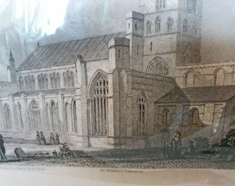 circa 1832 Steel Engraving - Genuine Antique Print Carlisle Cathedral
