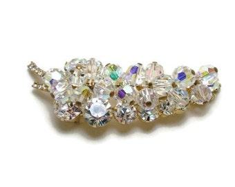 Vintage Juliana Brooch, Juliana Trembler Brooch, Juliana Jewelry, Aurora Borealis Brooch, Rhinestone Leaf Brooch, DeLizza and Elster