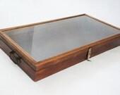 glass display case, display cabinet, curio cabinet display box, wood shadow box, large, rustic, vintage