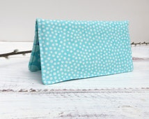 Womens Billfold Full Sized Wallet Clutch Zippered Slot Aqua Green Print Cotton Wallet Card Holder