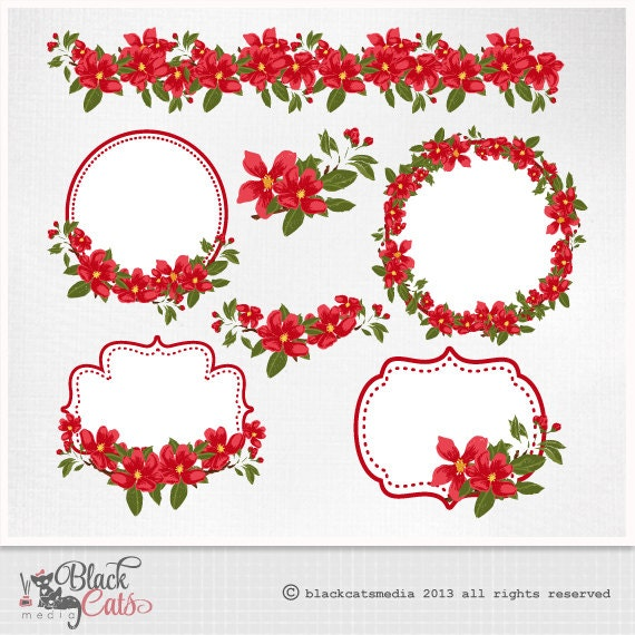 Items similar to Red Flowers Clipart Flowers frames Lace Digital ...