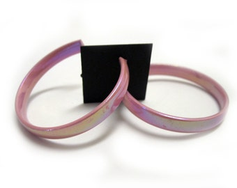 90's Holographic Pink Hoops