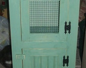 Handmade Wooden Primitive Rustic Cabinet Double Door Pantry Jelly Cabinet Storage With Wire Door