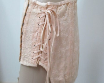 Vintage corset girdle with lacing peach brocade corset