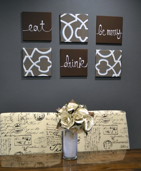 Eat Drink Be Merry Wall Art Pack Of 6 Canvas Wall By