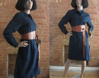 1970s Halston midnight blue ultrasuede dress