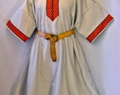 Sz 2X Medieval SCA LARP Celtic Tunic Cotton w/ Jacquard Trim