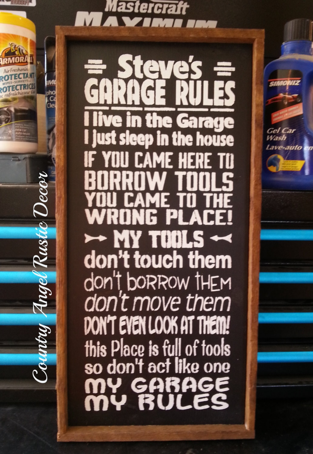 Personalized Garage Rules Sign Handpainted Wood Typography