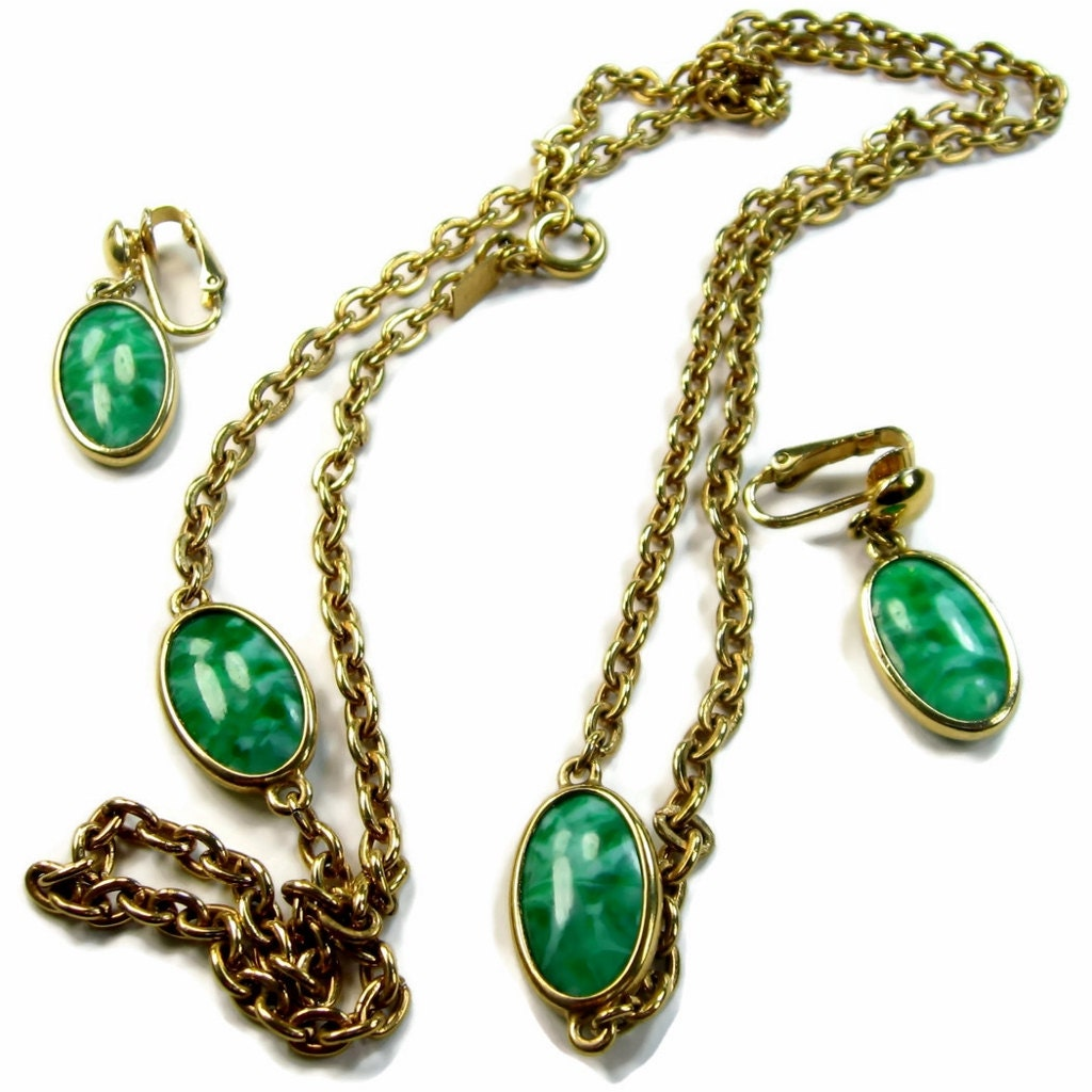 marbled glass jewelry set necklace and by eclecticvintager