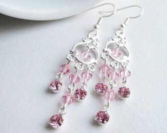 Pale pink Swarovski crystal earrings, pink gift friend, dangle earrings, light pink chandelier small, handmade jewelry