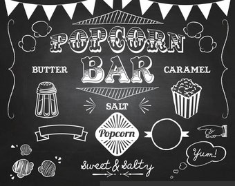 Popcorn Party Chalkboard Clipart - Digital Clip Art Graphics