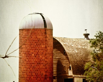 Rustic Photography, grain silo, weathered barn, brick silo, farm scene, wood barn, primitive, brick red, gray, gold, Country Home Decor