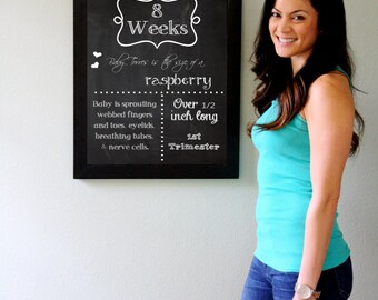 CUSTOM Name ALL 16 Printable File Pregnancy Chalkboard  Weeks 16x20 - from 1st, 2nd, 3rd  Trimester week by week pregnancy picture files