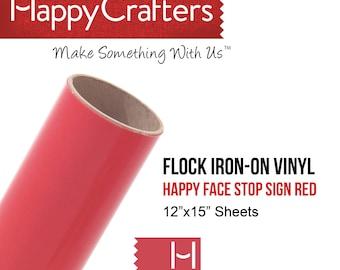 "Iron On Flock Vinyl (Stop Sign Red) 12"" x 15"" Sheet"