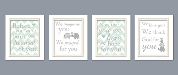 nursery quad mint and gray nursery elephant nursery set of - Kinderzimmer Grau Mint