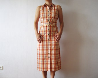 Plaid Shirt Dress Red Orange Checked Button up Summer Dress Belted Sleeveless Size Medium