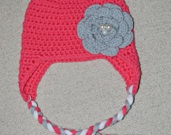 Simple Crochet Ear-flap Hat with Triple Layer Flower