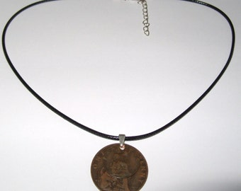 "Black Waxed Cord British 1910 Penny  & Farthing Necklace17"" 43cm With Extension Chain"