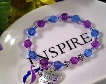 Rheumatoid Arthritis, RA Awareness, Rheumatoid Disease, RD, Purple beads, Blue Beads, Mixed connective tissue disease, MCTD, Gift For Her