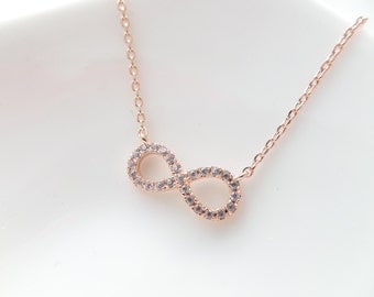 Tiny Rose Gold infinity necklace with cubic zirconia .....dainty, simple,  bridal jewelry, wedding, bridesmaid gift