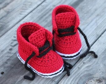 """Baby Boys Crochet PATTERN """"Chase"""" Crochet Pattern, Red Baby Boots, street shoes PATTERN ONLY"""