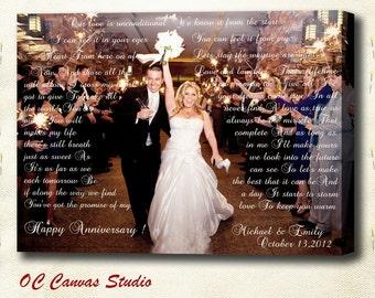 Christmas Gift 11x14 Custom Canvas Print Art Newlyweds Gift Personalized Wedding First Dance, Lyrics, Vows. Perfect  Wall Decor.