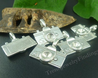 BULK - 15 Camera Charms - Photographer charms - Large Antique Tibetan Silver Charms  - MC0154