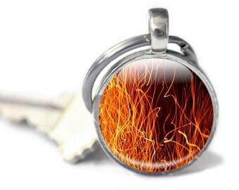 Fire Keychain, Flames Keychain, Glass Keychain (keychain 56)