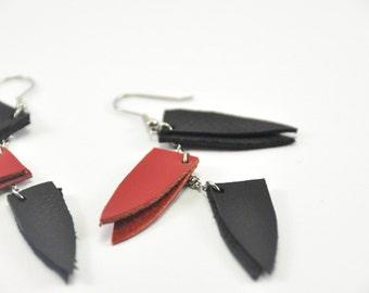 Leather handmade earring, Long triangle earrings, Dangle Statement earrings, Boho jewelry, gift for her under 20, girl power jewelry