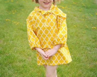Girls yellow print dress, Girls mustard dress, Childrens clothing, Dress, yellow print dress