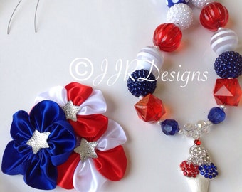 4th of July Girl Necklace- Patriotic Necklace-4th of July- Bubble Gum Necklace