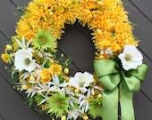 Easter Mums Wreath - Luxury Door Wreath - Spring Wreath - Yellow Wreath - Front Door Wreath - Egg Wreath - Easter Wreath - Springtime Decor