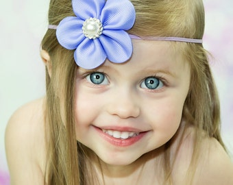 Lavender Twirl Pearl Flower Headband Preemie to Adult