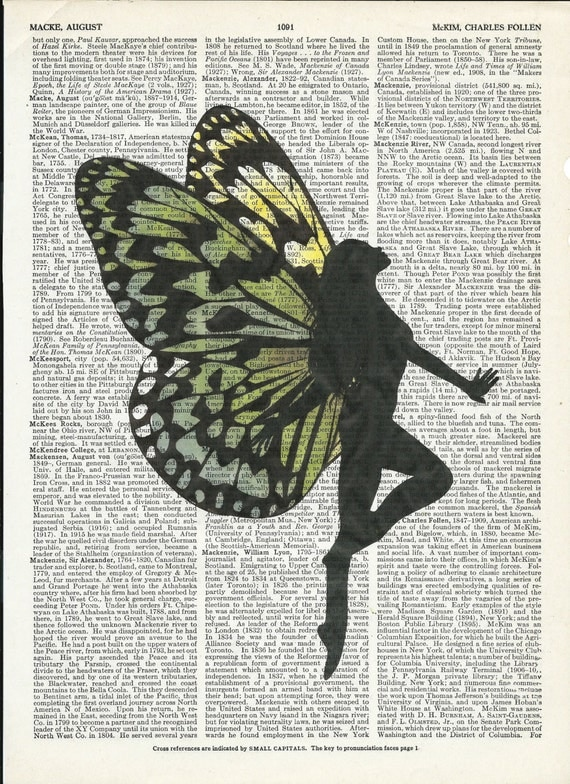 Illustration of Silhouette Fairy on Upcycle Vintage Page Dictionary Art Print Book Print Art Print Collage Print
