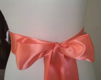 Light Coral Sash- 2.5 Inch Simple Satin Sash- Wedding Belt- Bridal Sash - Flower Girl Sash- Ready to Ship