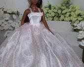 Pink Swiss Dot Attendant Bridesmaid  Ballgown by JanCo. Fits Silkstone, Vintage, Modern and Twist N Turn Barbies.